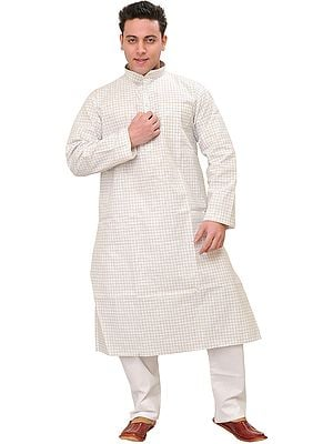 White Kurta Pajama with Checks