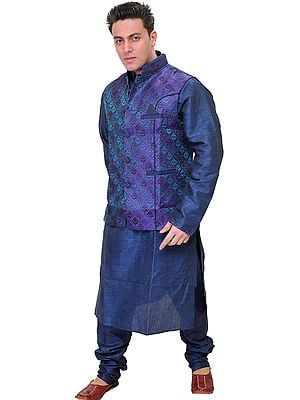 Estate-Blue Three Piece Kurta Pajama Set with Waistcoat