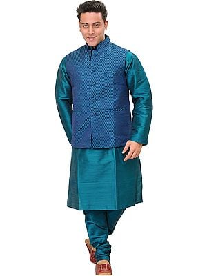 Harbor-Blue Three Piece Kurta Pajama Set with Brocaded Waistcoat