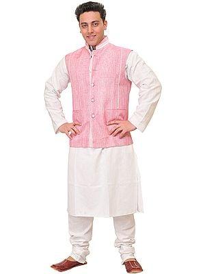 Pink and White Three Piece Plain Kurta Pajama Set with Waistcoat