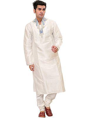 Bright-White Kurta Pajama Set with Beaded Paisleys on Neck