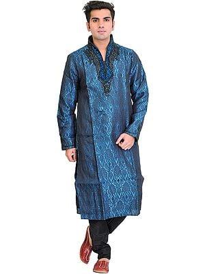 Celestial-Blue Wedding Kurta Pajama Set with Self-Weave and Velvet Applique on Neck
