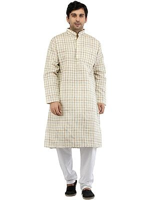 Kurta Pajama Set with Woven Checks All-Over
