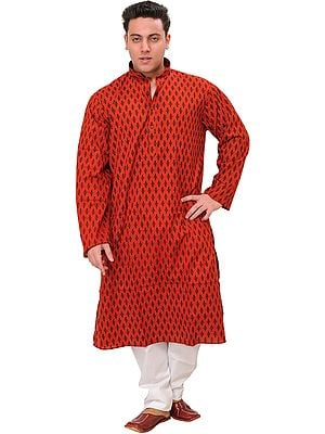 Cranberry-Red Casual Kurta Pajama Set with Block-Printed Bootis