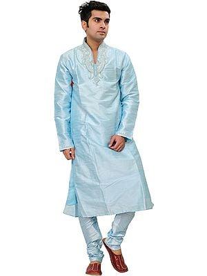 Crystal-Blue Wedding Kurta Pajama Set with Beaded Paisleys on Neck