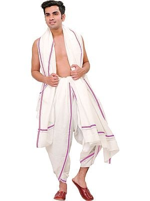 Plain Ready to Wear Dhoti and Angavastram Set with Striped Border