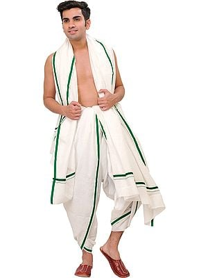 Plain Dhoti and Angavastram Set with Striped Border