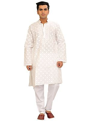 Bright-White Kurta Pajama Set with Chikan Hand-Embroidery in Self-Colored Thread