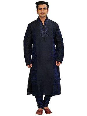 Patriot-Blue Self Weave Wedding Kurta Pajama Set with Beads-Embroidered Neck