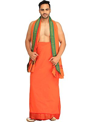 Plain Dhoti and Angavastram Set with Zari-Woven Border