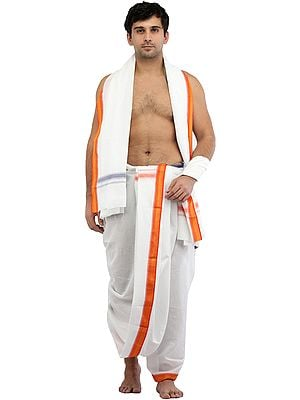 Bright-White Dhoti and Angavastram Set with Woven Border