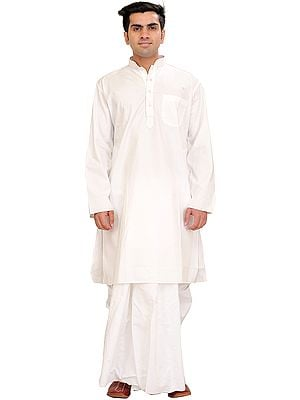 Bright-White Plain Dhoti Kurta Set