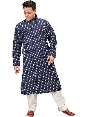 Patriot-Blue Casual Kurta Pajama Set with Block-Printed Bootis
