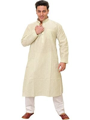 Casual Kurta Pajama Set with Woven Stripes and Front Pocket