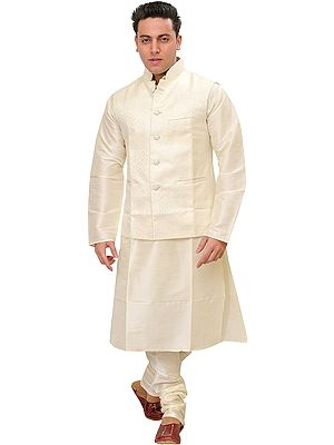 Ivory Three-Piece Kurta Pajama Set with Self-Weave on Waistcoat