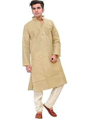 Pale-Khaki Kurta Pajama Set with Woven Striped and Embroidered Neck