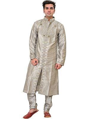 Silver Wedding Kurta Pajama Set with Beads-Embroidery and Stone-work