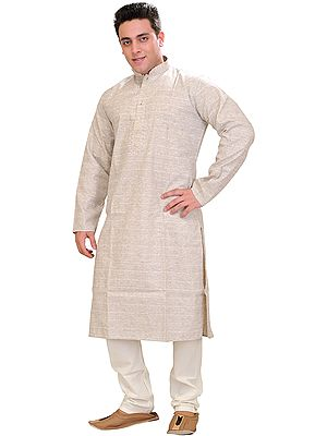 Moonbeam Khadi Kurta Pajama Set with Thread Weave and Embroidery on Neck