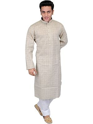 Whitecap-Gray Casual Kurta Pajama Set with Woven Checks and Embroidery on Neck