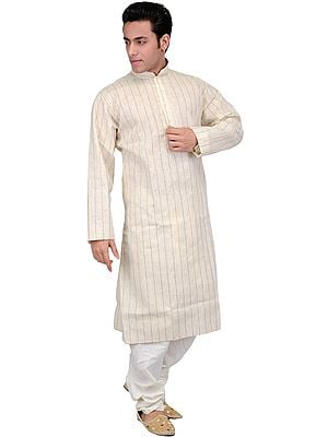 Antique-White Kurta Pajama Set with Woven Stripes and Embroidered Neck