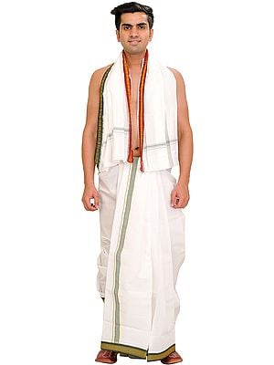 Snow-White Dhoti and Angavastram Set with Woven Border