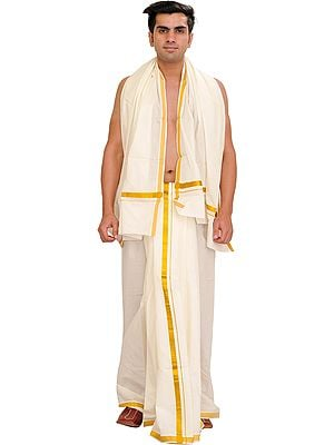 Ivory Kasavu Dhoti and Veshti Set from Kerala with Zari Woven Border