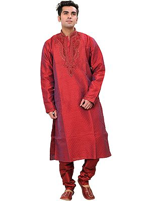 Rococco-Red Self Weave Wedding Kurta Pajama Set with Beads Embroidered on Neck