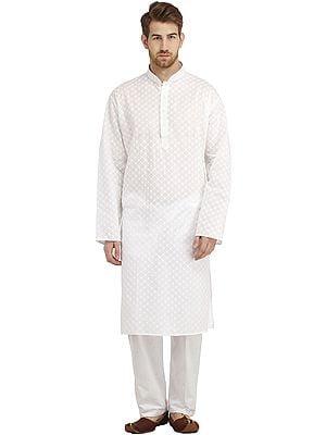 Bright-White Casual Kurta Pajama Set with Lukhnavi Chikan Embroidery