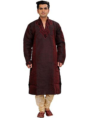 Oxblood-Red and Cream Self-Weave Wedding Kurta Pajama Set with Hand-Embroidered Beads on Neck
