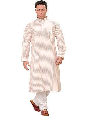 Casual Kurta Pajama Set with Woven Stripes All-Over