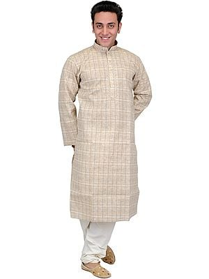 Sand-Shell Casual Kurta Pajama Set with Thread Weave and Embroidery on Neck