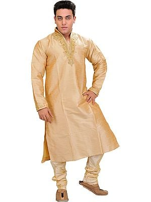 Frosted-Almond Wedding Kurta Pajama Set with Hand-Embroidered Beads on Neck