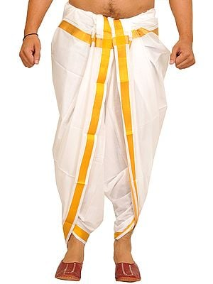 Bright-White Dhoti from Kerala with Woven Golden Border