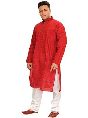 Summer Kurta Pajama Set with Printed Checks