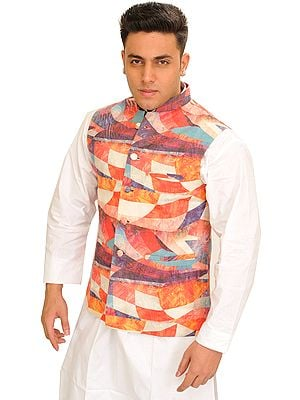 Multicolor Waistcoat with Abstract Digital Print