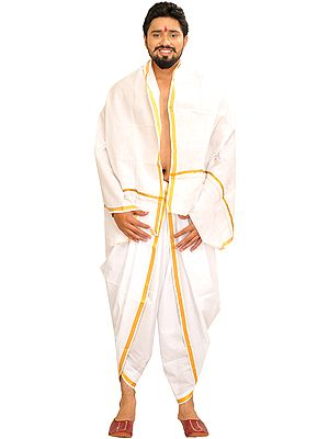 Star-White Dhoti and Angavastram Set with Woven Border in Zari Thread