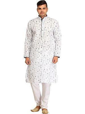 Bright-White Casual Kurta Pajama Set with Calligraphic  Print