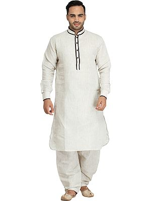Plain Pathani Kurta Shalwar Set with Piping