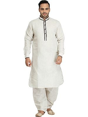 Plain Pathani Kurta Salwar Set with Piping