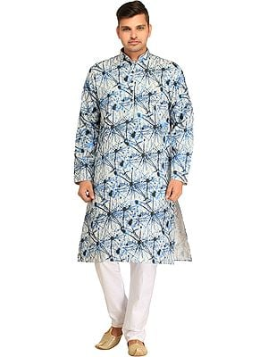 Casual Kurta Pajama Set with Abstract Print and Piping