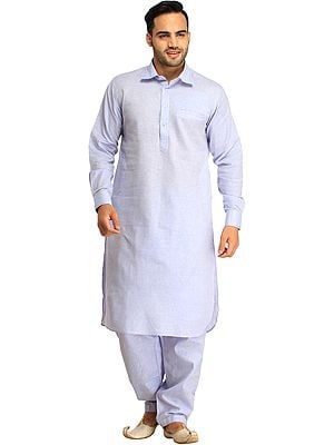 Pastel Plain Pathani Kurta Shalwar Set with Front Pocket