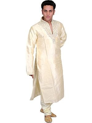 Cream Wedding Kurta Pajama Set with Woven Stripes and Embroidered Beads on Neck