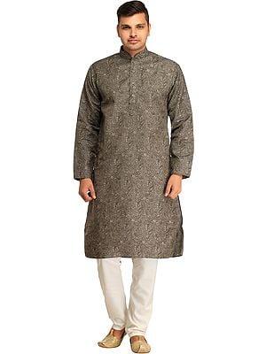 Casual Kurta Pajama Set with Printed Mughal Motifs