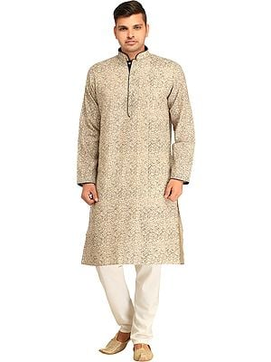 Kurta Pajama Set with Printed Paisleys and Piping