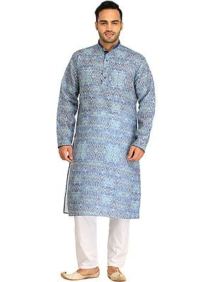Riviera-Blue Kurta Pajama Set with Printed Mughal Motifs