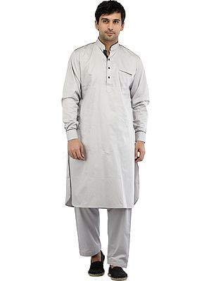 Plain Pathani Kurta Salwar Set with Piping-work