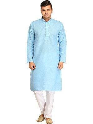 Kurta Pajama Set with Embroidery on Neck and Thread-Weave