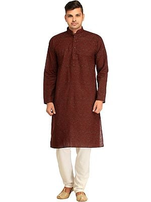 Oxblood-Red Printed Kurta Pajama Set with Piping