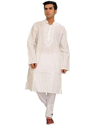 White Lukhnavi Chikan Hand-Embroidered Kurta Pajama Set