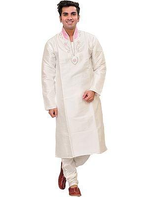 Snow-White Wedding Kurta Pajama Set with Hand-Embroidered Beads and Pink Collar